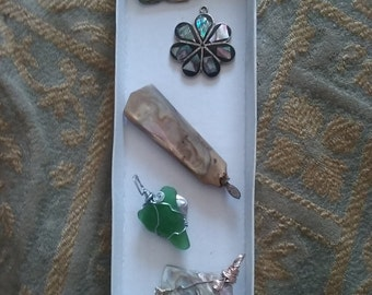Handmade Abalone Shell And Wire Wrapped Seaglass Jewelry  Necklace Pendants Handle Set Of 5 Pieces
