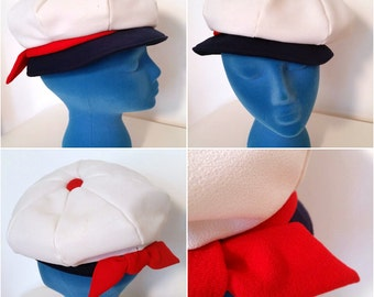 Super Sassy Red, White and Blue Vintage 60s Nautical Go-Go Newsboy Cap Hat