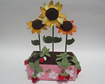 Strawberry and sunflower everlasting felt garden...