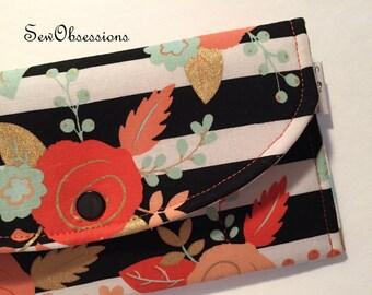 Coupon Holder Wallet, Receipt or Cash Keeper In Floral Stripes