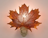 Real Sugar Maple Leaf Dipped In Iridescent Copper Nightlight  - Iridescent Copper Leaves