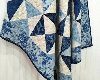 "Throw Quilt Minky HANDMADE Patchwork Cold Spell Laundry Basket Moda Blue White 54.5""x 61"""