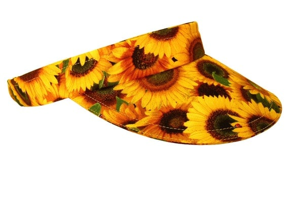 "Calico Caps presents...The VISOR! - ""Shine On"" - Bright Golden Yellow Sunflower Red Ladybug Ladies Summer Fall Fashion Visor - FREE SHIPPING"