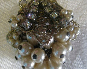 "Vintage/antique ""cluster necklace"", cluster of faux pearls and rhinestones"