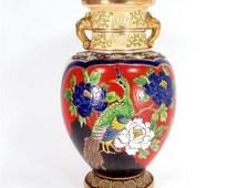 Antique JAPANESE PEACOCK Enamel Vase Lamp Base Moriage Beaded Floral Bird