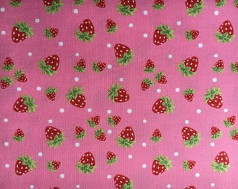 In the Beginning Fabrics STRAWBERRY FESTIVAL Strawberries on Pink- yards