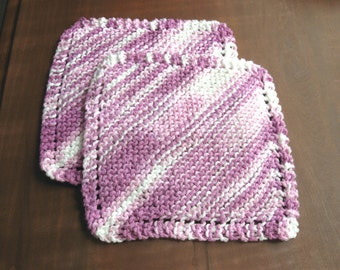 Set of Two (2) Knitted Cotton Dishcloths - Lavender and White