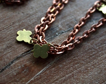 Vintage 1950s Kitsch Clover Necklace // Brass Copper // 50s Chain // 54 inches // Long Necklace