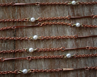3 Feet Vintage 1960s Copper Chain // 50s 60s Twisted Bar and Faux Pearls // NOS //