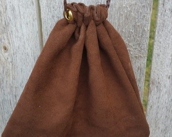 Suede drawstring pouch