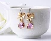 Light Purple Glass Matte Gold Orchid Earrings Flower Light Amethyst Titanium Wedding Dangle