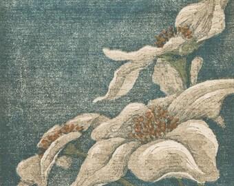 Original Woodblock Reduction Print - White Petals No. 3 hand-pulled woodblock moku haga fine art print limited edition