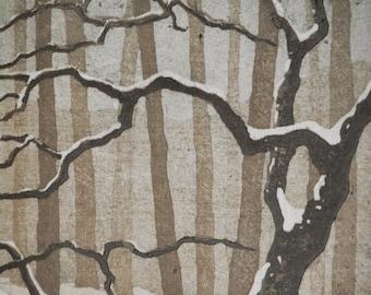 Snow No. 3 - Woodblock Reduction Print - OOAK Original Handpulled Fine Art Print Limited Edition Moku Hanga Landscape