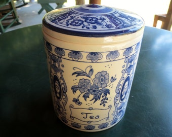 Delft China Blue & White Tea Canister Caddy