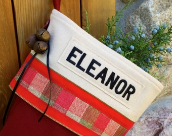 Personalized Red Holiday Stocking with Red Velvet Plaid Ribbon