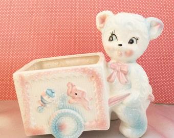 Vintage Napco bear with cart ceramic baby planter