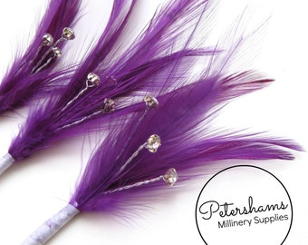 3 Purple Hackle Feather & Diamante / Rhinestone Wired Spray Mounts for Fascinators, Wedding Bouquets and Hat Trimming