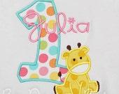 Giraffe Birthday Shirt, Girl's Giraffe Birthday Shirt, Giraffe 1st Birthday Shirt or Bodysuit, Any Age, You Pick Fabrics