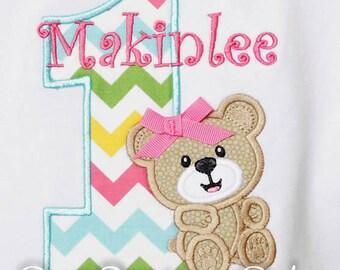 Teddy Bear Birthday Shirt, Bear Birthday Shirt, Girls Bear Birthday Shirt, Custom Birthday Shirt, Any Age, Custom Teddy Bear Shirt