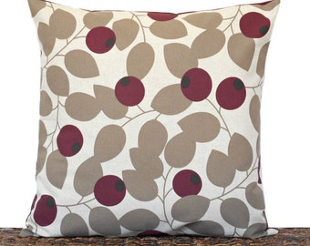 Taupe Leaves Pillow Cover Cushion Currant Berry Beige Maroon Fall Autumn Repurposed Decorative