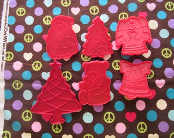 Set of 6 Different Christmas Themed Cookie Cutters-Santa, Tree, Angel, Christmas Tree, Teddy Bear, Bell
