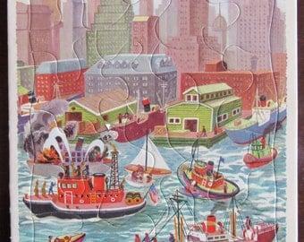 Wonderful Vintage Playskool City Harbor Tray Puzzle