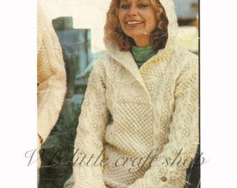 Lady's Aran hooded sweater knitting pattern. Instant PDF download!