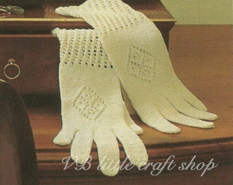 Ladies gloves knitting pattern.  Instant PDF download!