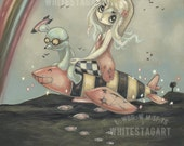 Bomber girl lowbrow misfit whimsical fine art pop surreal print - War games Bombs Away