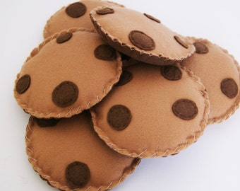 Set of 4 felt Choc Chip Cookies, Plush Biscuits, Pretend Food, Toddler Role Play, Baby Toy, Kitchen Play Biscuit, Tea Party, Toy Food
