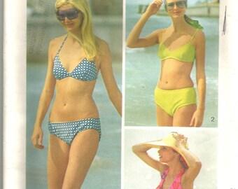 Vintage 70s Bikini Bathing Suit Pattern Swimwear Bra Top The Every Body Bikini 34 36 bust 12 14