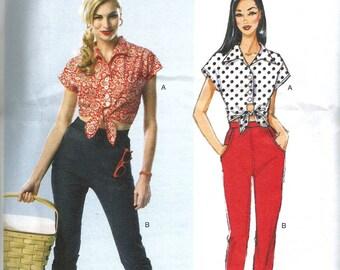 Vintage 50s Capri Pants Pattern Tie Up Top Repro Butterick 5895 32 to 42 waist M L XL XXL Rockabilly Plus Size Jeans Pedal Pushers FF Uncut