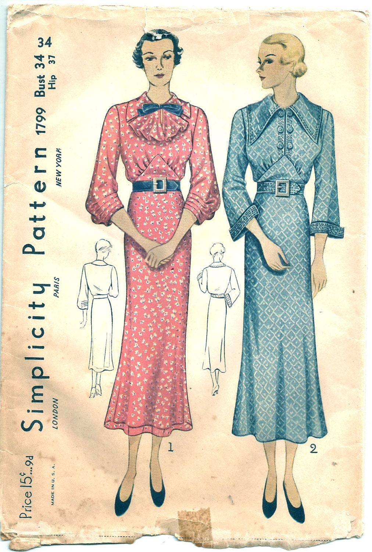 Vintage 30s Dress Pattern 1930s Simplicity 1799 34 bust size