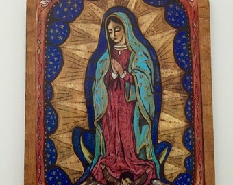 retablo retablos art4thesoul Guadalupe Mary Mothers Day seasonal religious gift Our Lady of Guadalupe Retablo