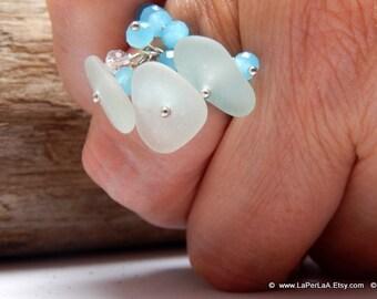 MERMAID's Tear Ring - SEA FOAM - Adjustable Ring with Genuine Natural Amalfi Sea Glass