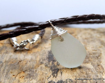 FOR HIM - Pendant with genuine beach glass from Amalfi Coast and eco leather