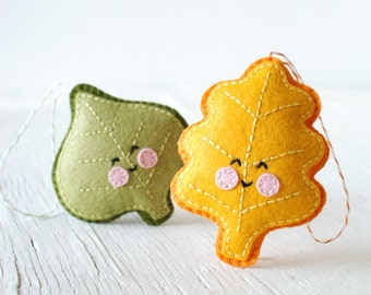 PDF Pattern - Little Leaves Embroidery and Sewing Pattern, Halloween, Thanksgiving, Autumn Felt Ornament Pattern, Softie Pattern