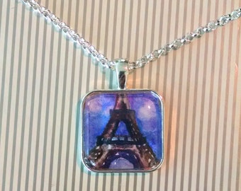 Violet Eiffel Tower Jewelry - Original Watercolor Paris Pendant Necklace Gift for Her