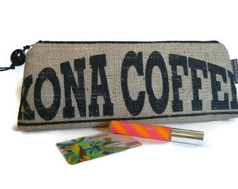Burlap Zipper Clutch Purse. Repurposed Kona USA Coffee Bag. Handmade in Hawaii.