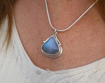 Rainbow Moonstone pendant.  Moonstone Teardrop.  Blue Moonstone. Necklace