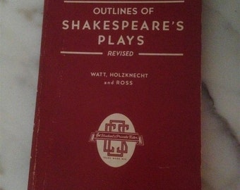 Outlines of Shakespeare's Plays 1952 College Outline Series Barnes & Noble Inc New York