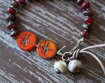 Garnet Knotted Bracelet - Dragonfly Bracelet - Orange and Garnet - Charm Bracelet - Boho Bracelet - Bohemian - Bead Soup Jewelry