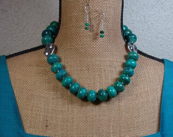 Natural chrysocolla Gemstone Rondelles, 925 silver Necklace and Earrings