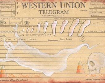 Boo Telegram Halloween Postcard