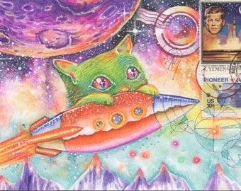 Space Cat Postcard