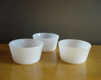 Milkglass Pudding Cups or Votive Holders - Mini Milkglass Vases - Milk Glass Set of Three