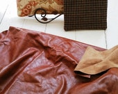 Medium Brown Leather Scraps Goregous Top Quality Two Large Pieces for One Price