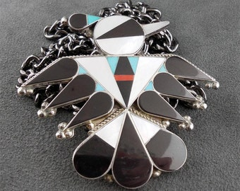 Dishta Pendant Zuni Sterling Thunderbird Multistone Inlay