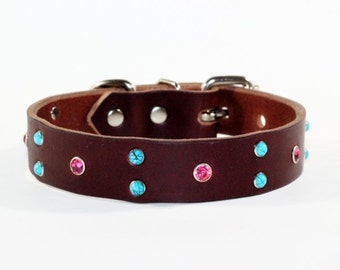 """Crystal Leather Dog Collar, Brown Leather Turquoise Dog Collar, 1"""" Brown Leather Dog Collar, Pink and Blue Leather Dog Collar, Made In Ca"""