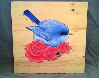 16in x 16in Acrylic, ink and oil based original bird, rose and bee art on wood
